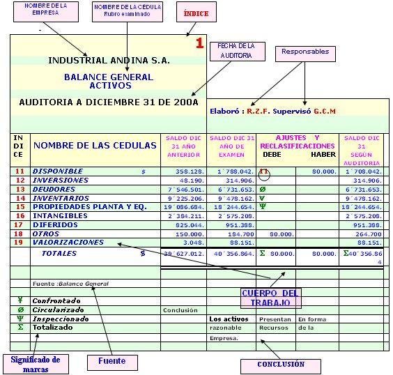 9.5 ESTRUCTURA DE LAS CÉDULAS DE AUDITORÍA